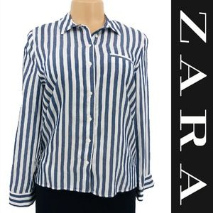 Zara Striped Button Down Blouse